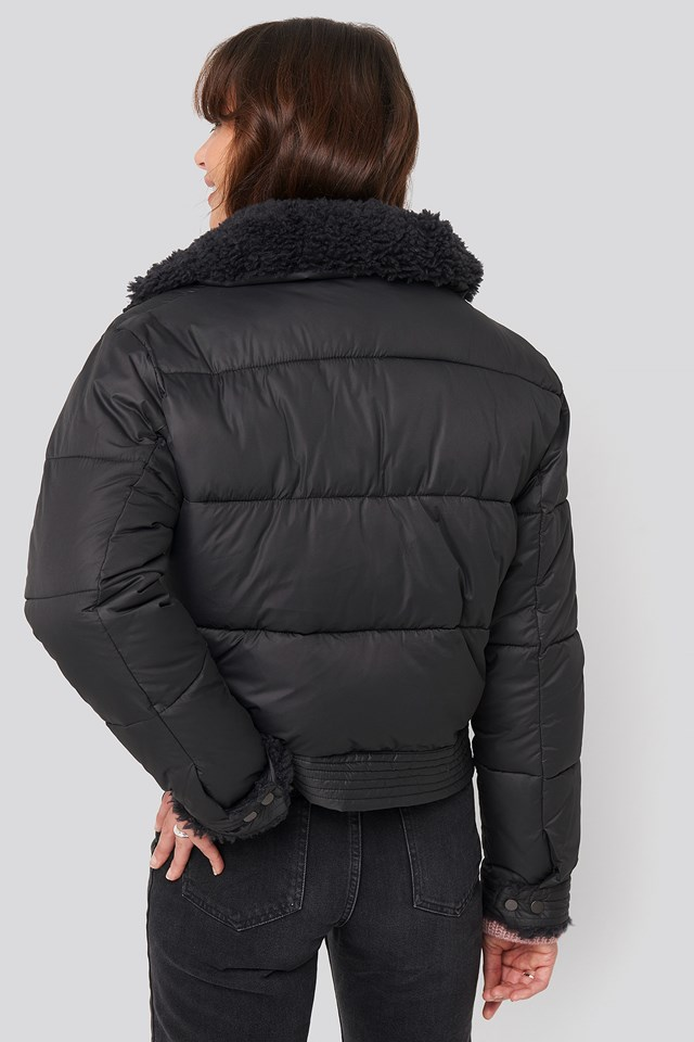 Faux Fur Detailed Puffer Jacket Black