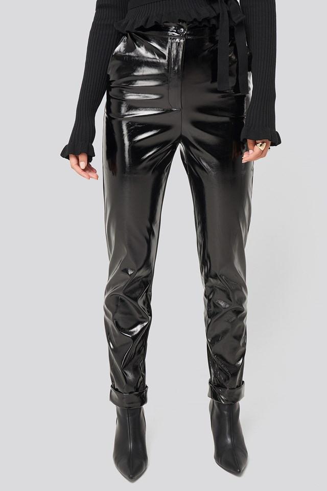 Fold Hem Pu Pants Black