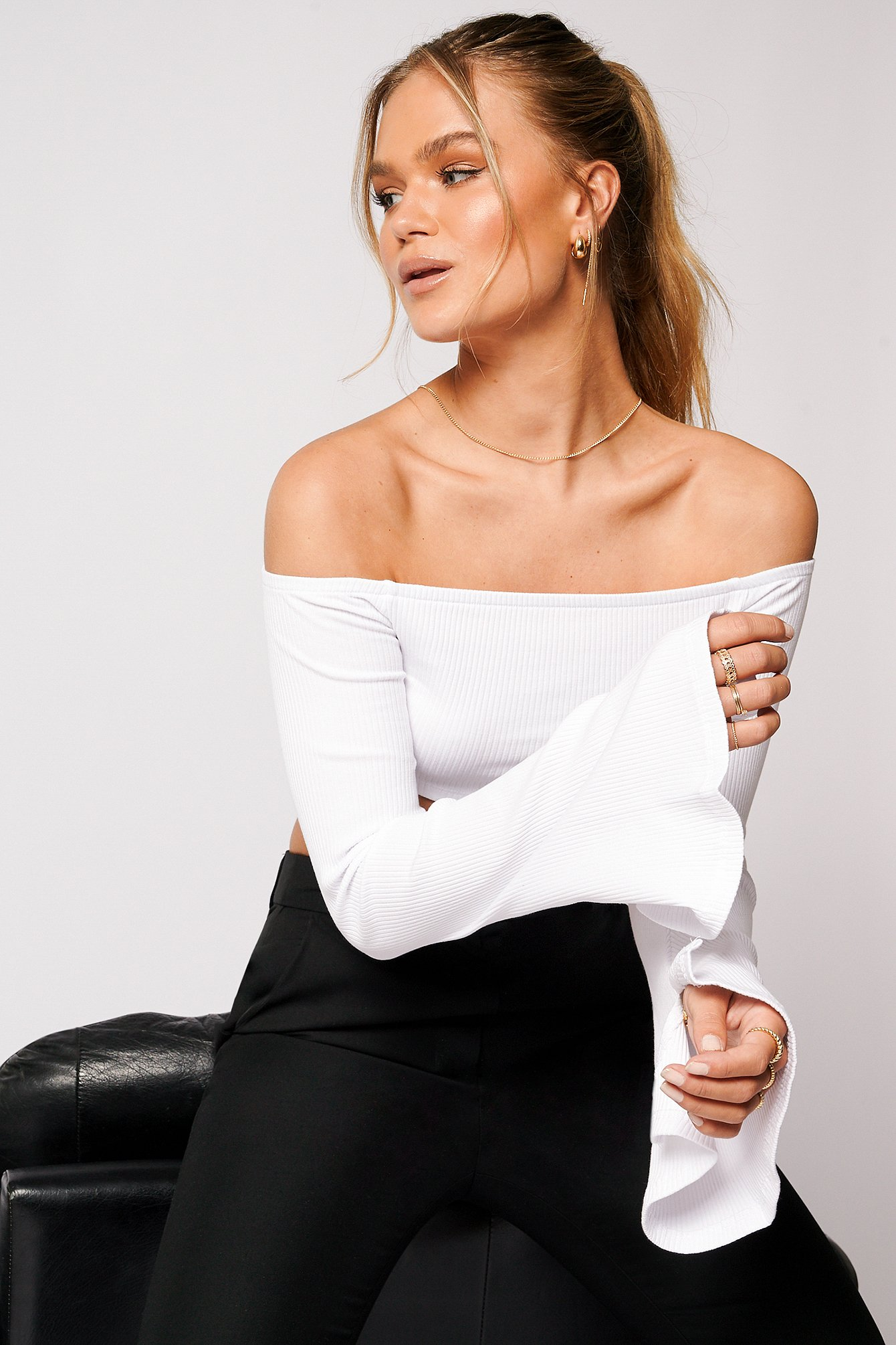 White Ribbet Off Shoulder Top
