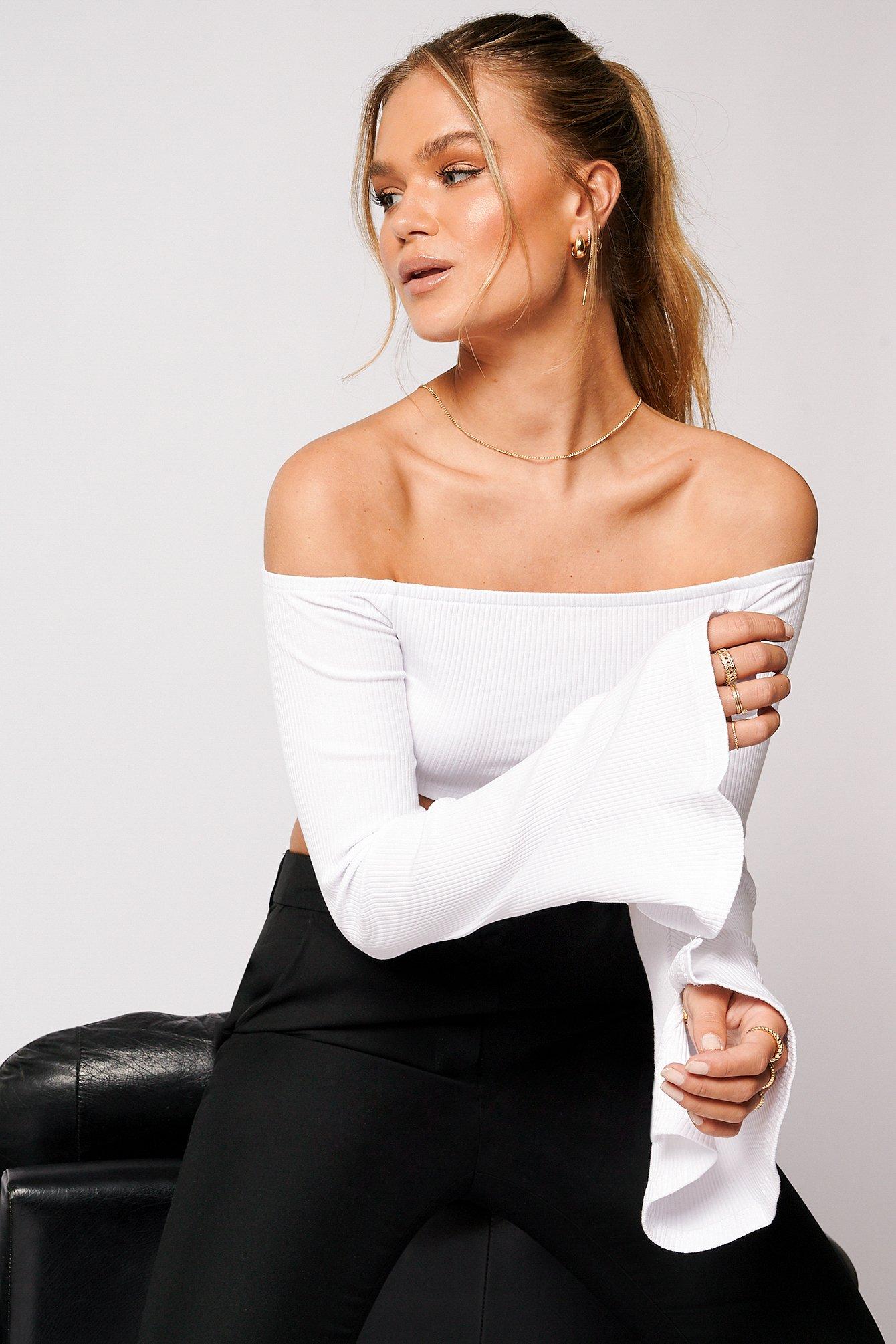 Hanna Schönberg x NA-KD Ribbet Off Shoulder Top - White