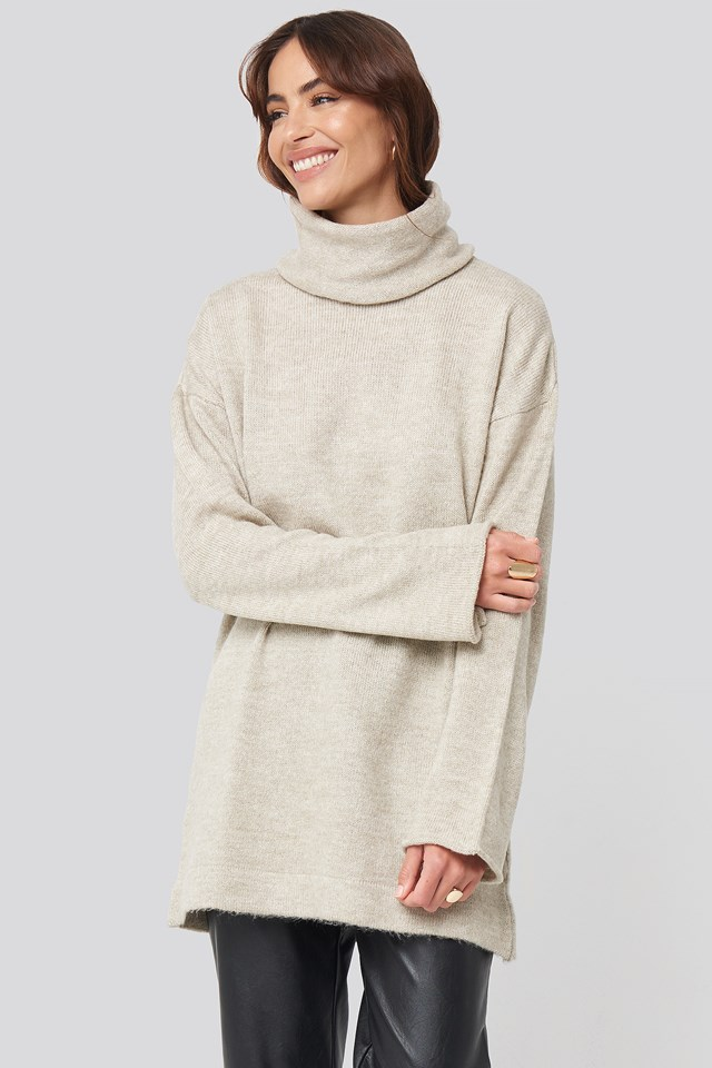 Oversized Polo Knitted Long Sweater Beige