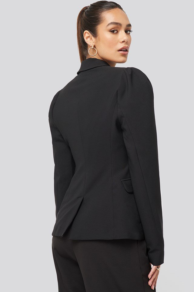 Puff Shoulder Blazer Black