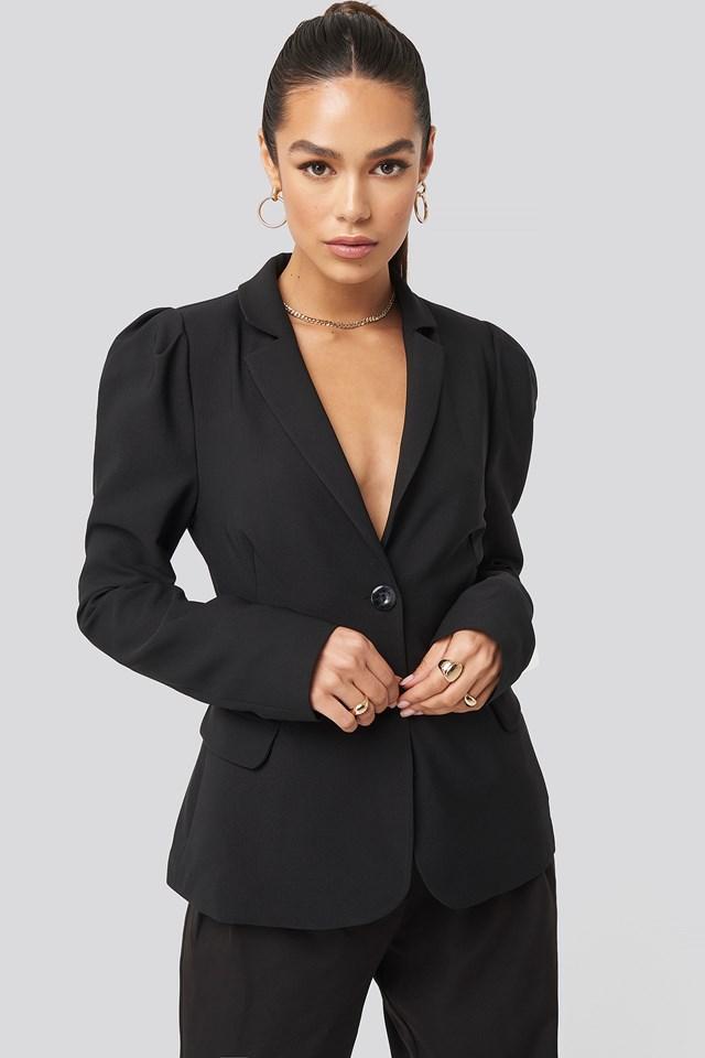Puff Shoulder Blazer Black