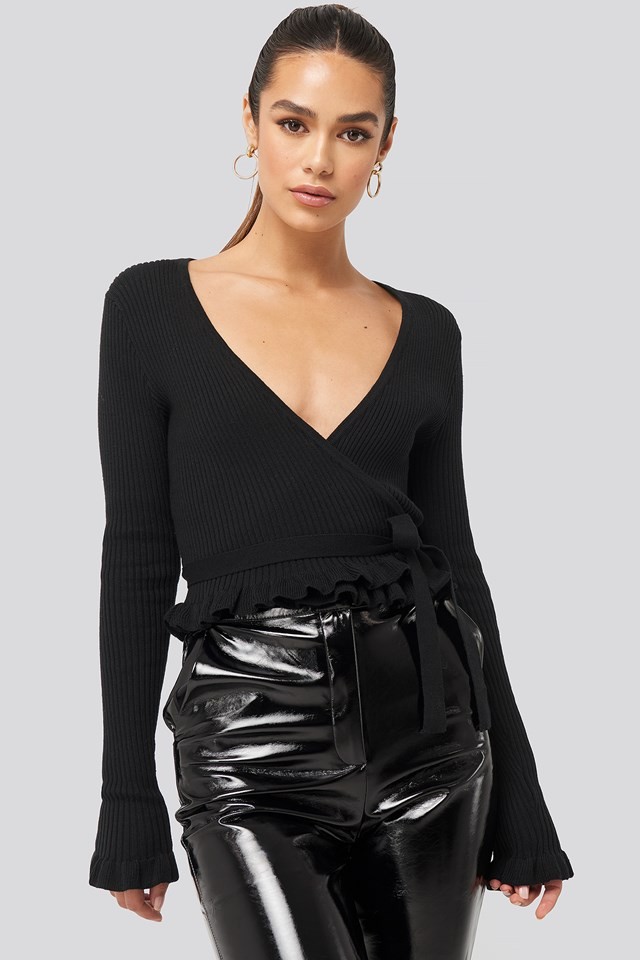 Ribbed Tied Top Black