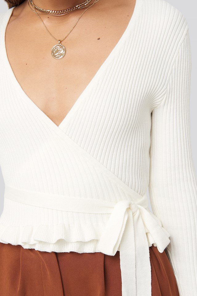 Ribbed Tied Top Off White