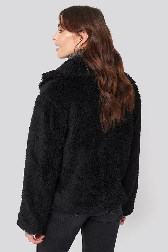 Short Faux Fur Belted Biker Jacket Black
