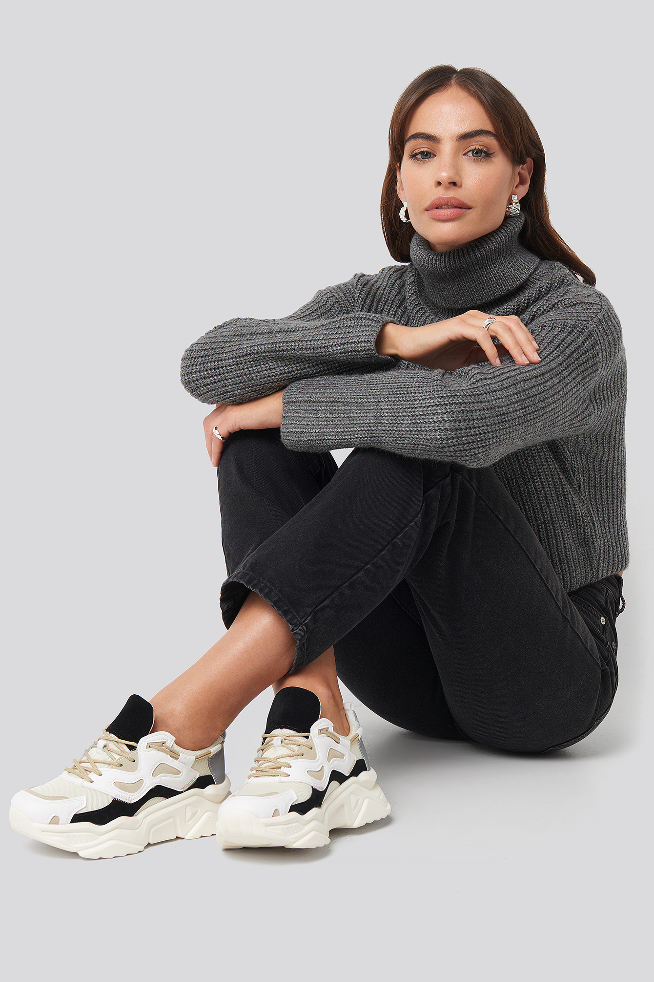 Hannalicious x NA-KD Sporty Chunky Sole Sneakers - Black,White,Beige