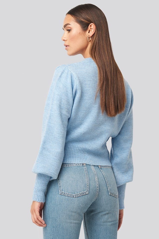 Balloon Sleeve Sweater Blue