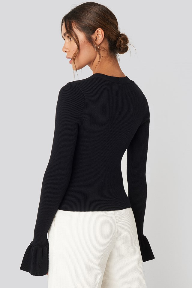 Button Down Bell Sleeve Sweater Black