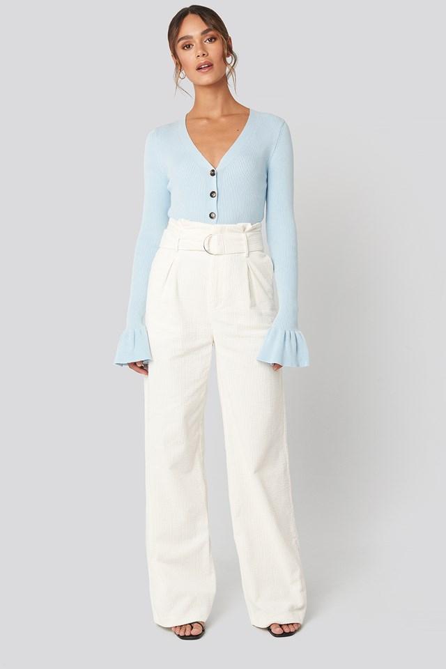 Button Down Bell Sleeve Sweater Blue