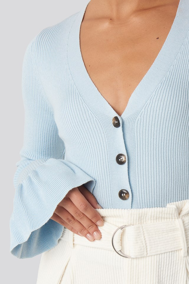 Button Down Bell Sleeve Sweater Blue