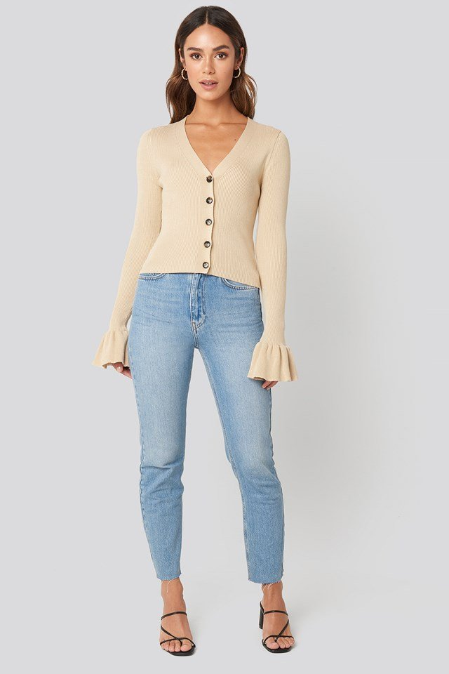 Button Down Bell Sleeve Sweater Beige