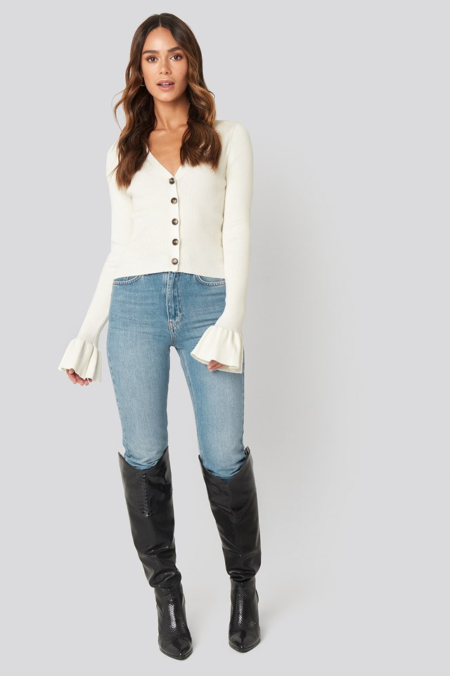 Button Down Bell Sleeve Sweater Off White