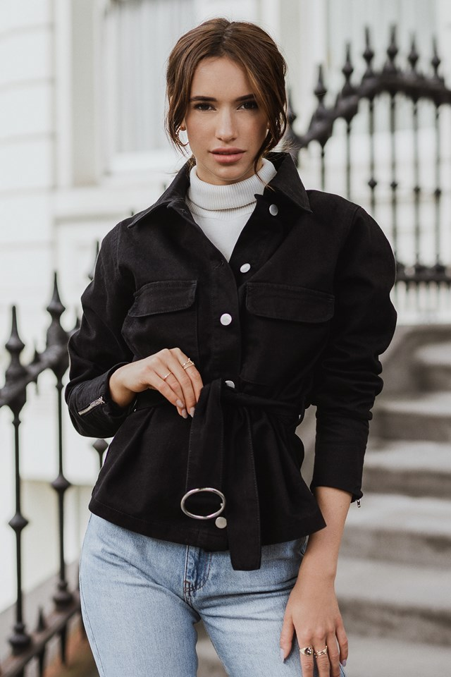 Button Down Belted Jacket Black