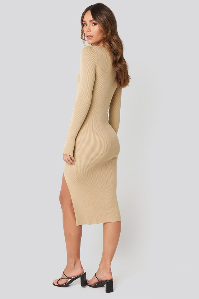 Front Slit Knit Dress Beige