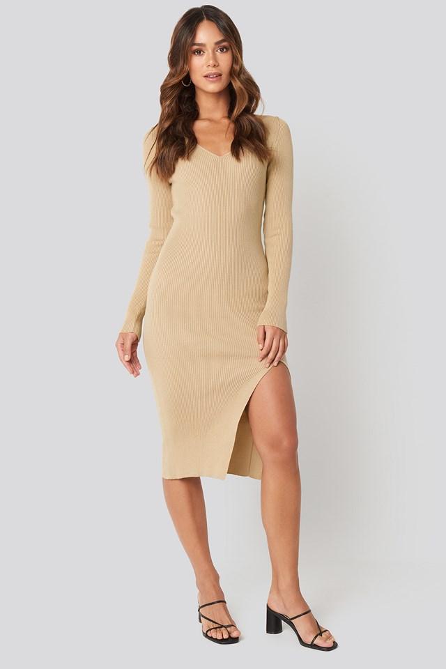 Front Slit Knit Dress Beige