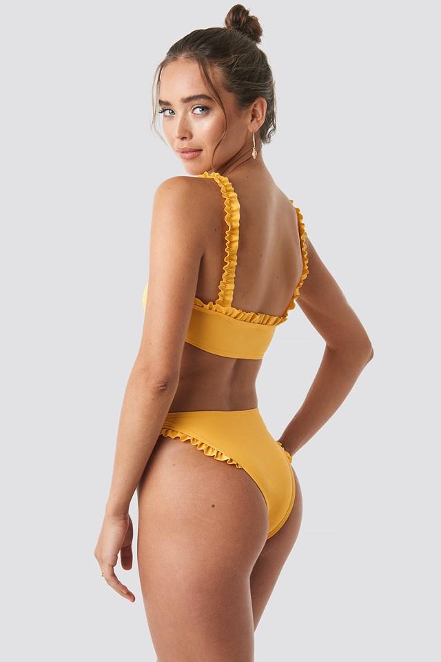 Gathered Bikini Top Mustard