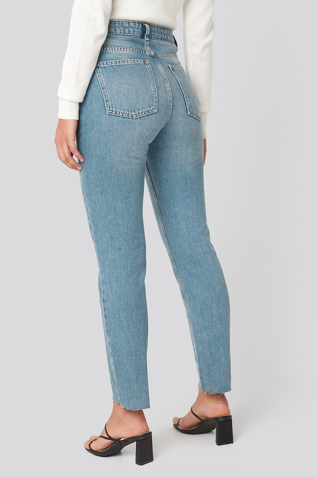 High Rise Straight Cut Jeans Blue