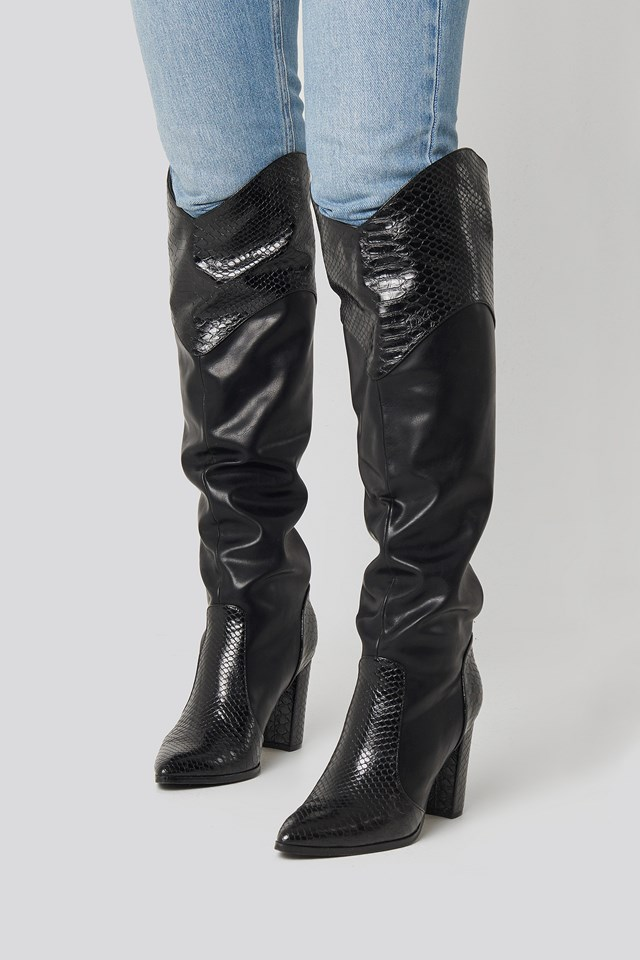 High Western Boots Black