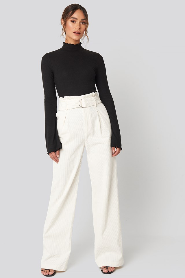 Paper Waist Wide Leg Pants Off White