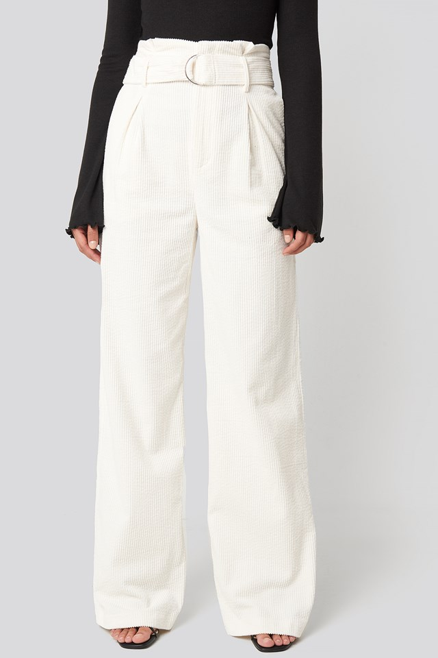 Paper Waist Wide Leg Pants Off White