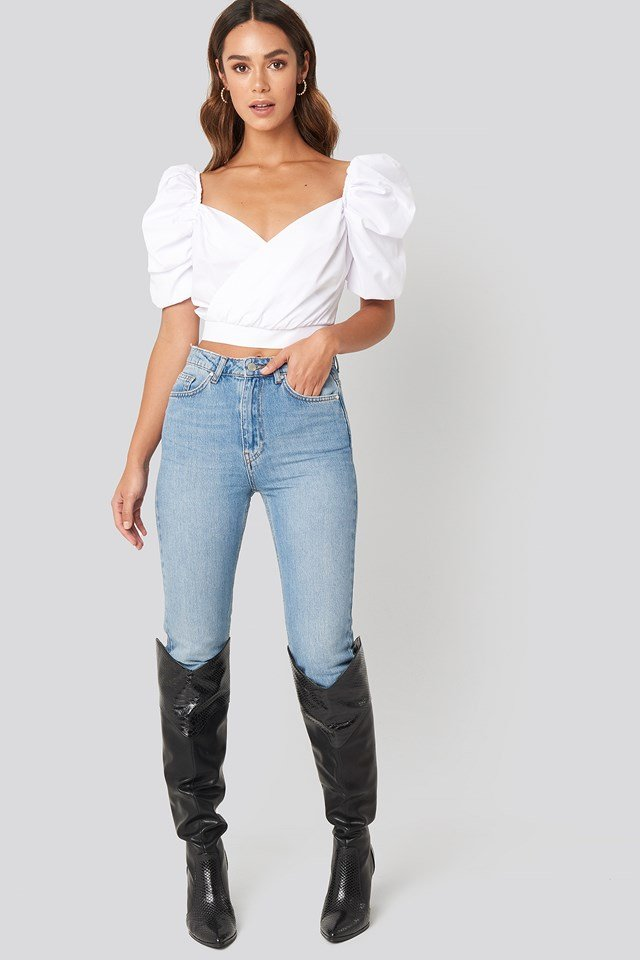 Puffy Shoulder Crop Blouse White