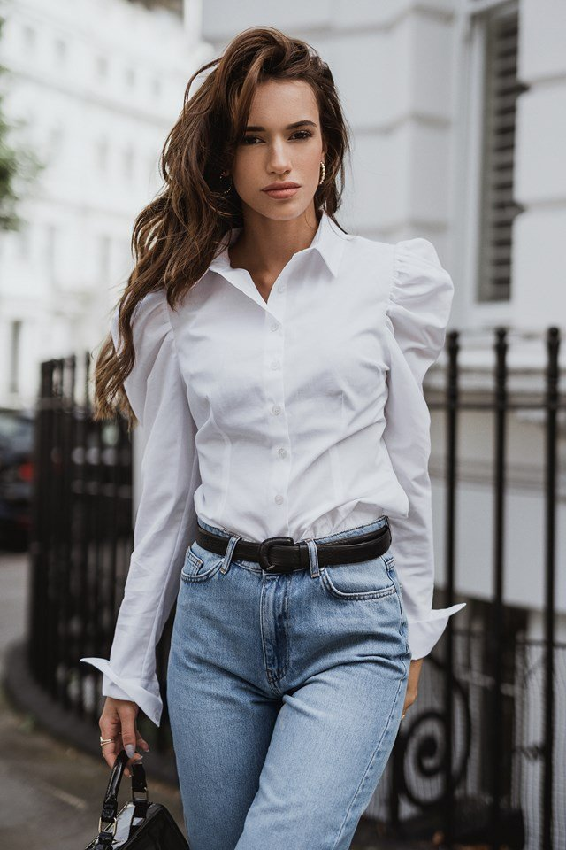 Puffy Shoulder Shirt White