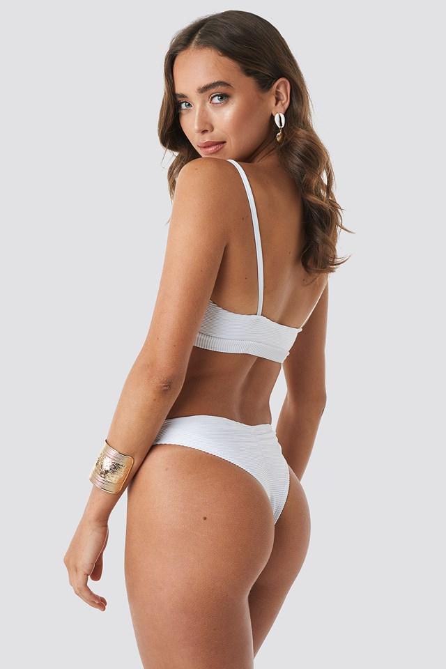 Ribbed Belted Bikini Top White