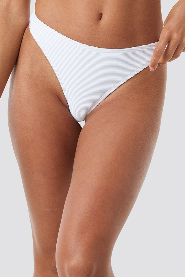 Ribbed Brazilian Bikini Bottom White