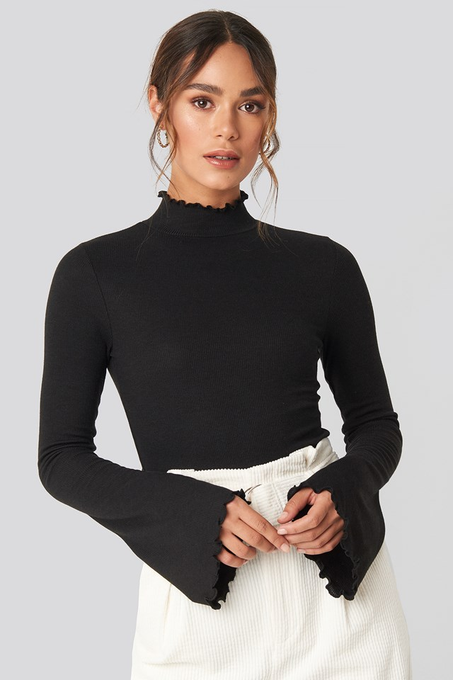 Ribbed High Neck Top Black