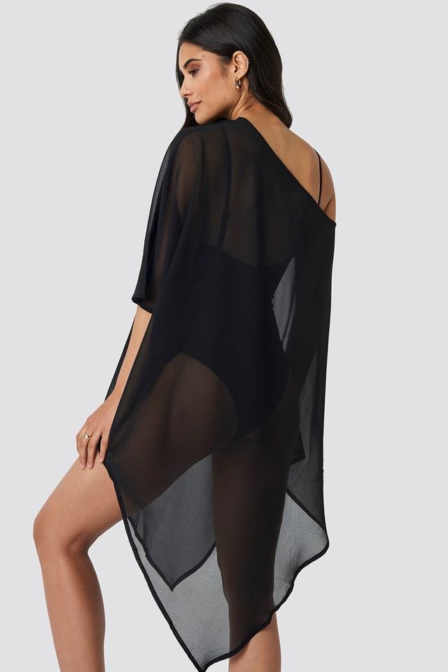 Asymmetric Bottom Beach Dress Black