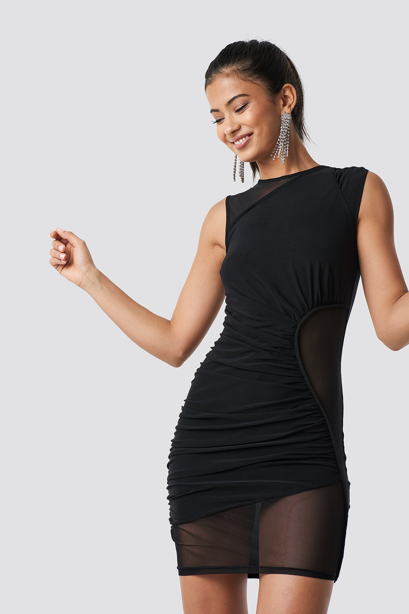 Asymmetric Detail Mesh Dress NA-KD.COM