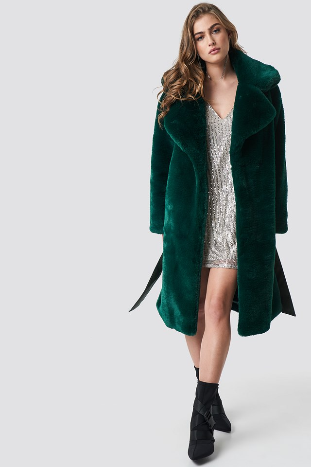 Belted Faux Fur Midi Coat Dark Green