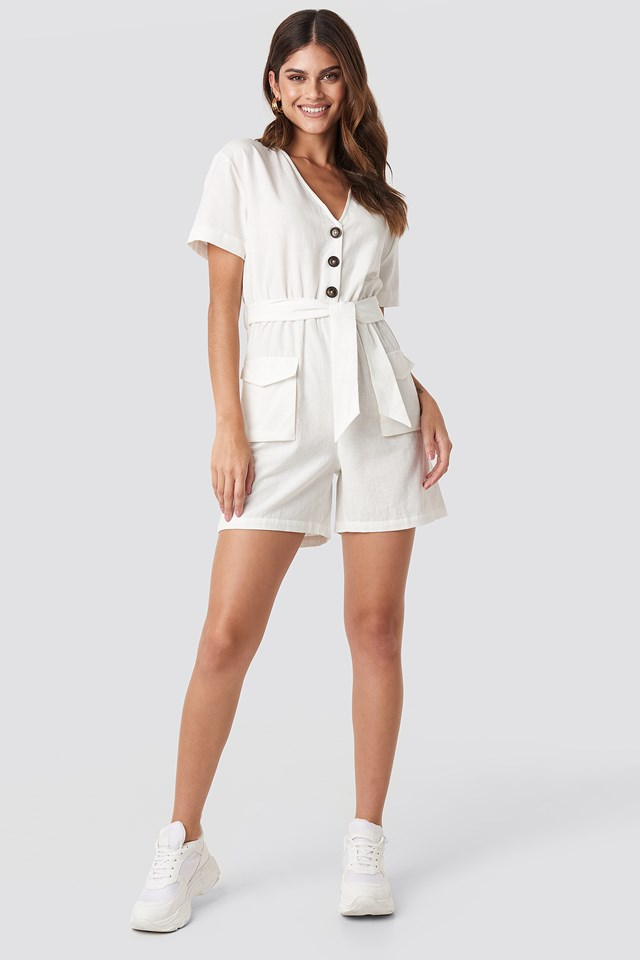 Belted Linen Look Playsuit Off White