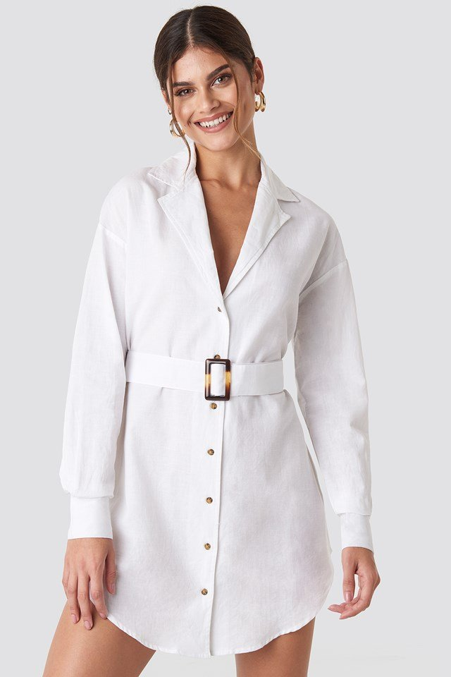 Belted Oversized Linen Look Shirt Dress White