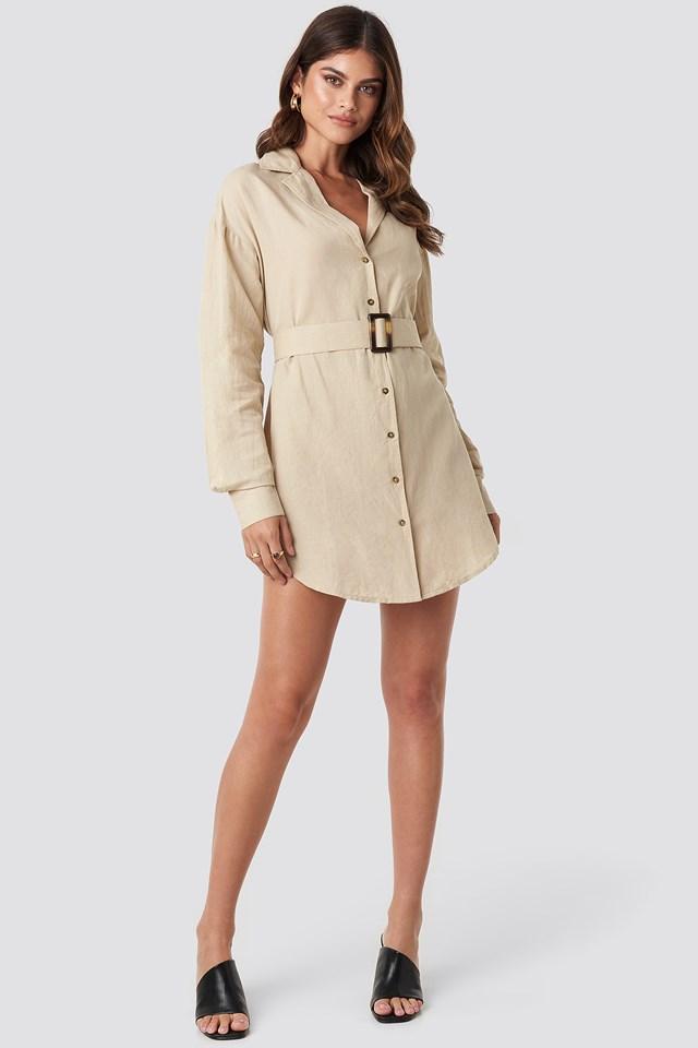 Belted Oversized Linen Look Shirt Dress Beige