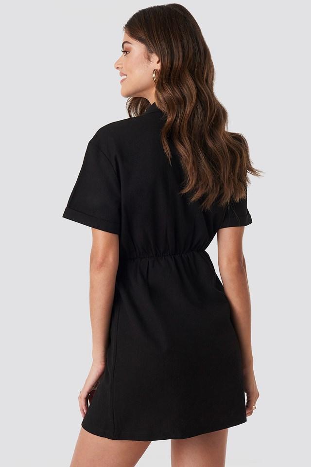 Button Up Overlapped Linen Look Dress Black