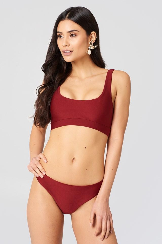 Crop Bikini Top Dark Red
