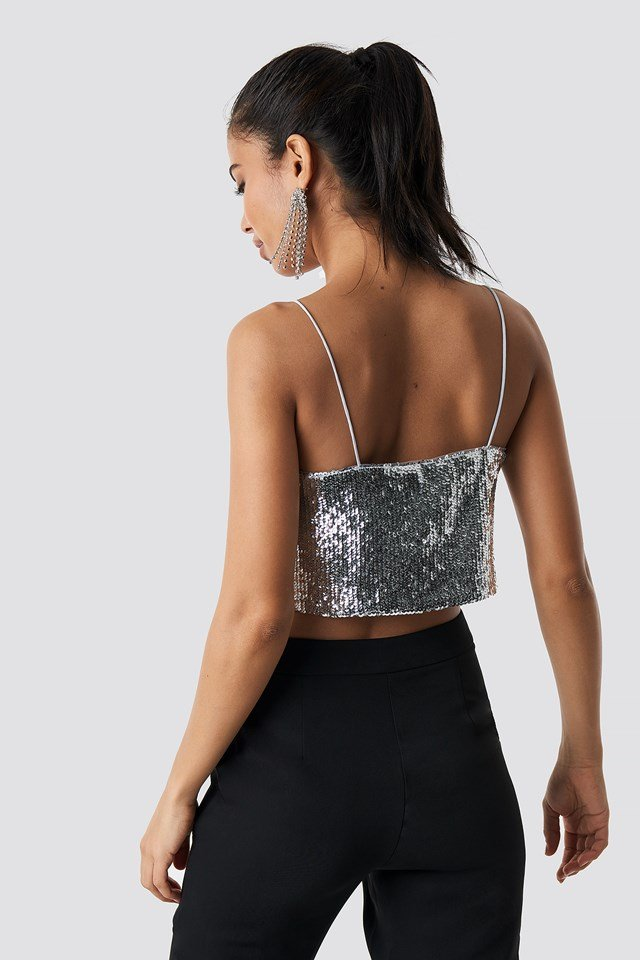 Cropped A-lined Sequin Singlet Silver