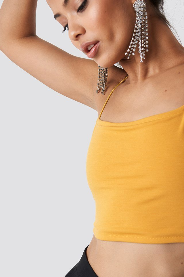 Cropped Straight Singlet Yellow