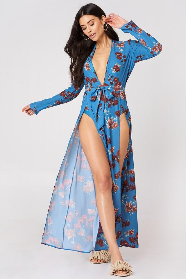 Double Front Slit Chiffon Dress Blue Orchid Print