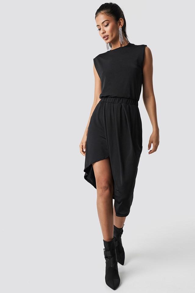 Draped Asymmetric Dress Black