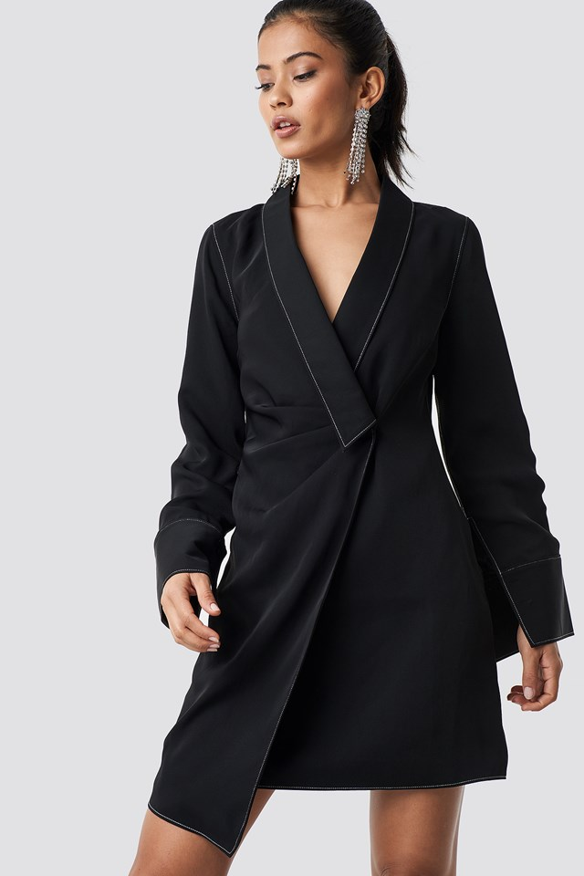 Draped Blazer Dress Black