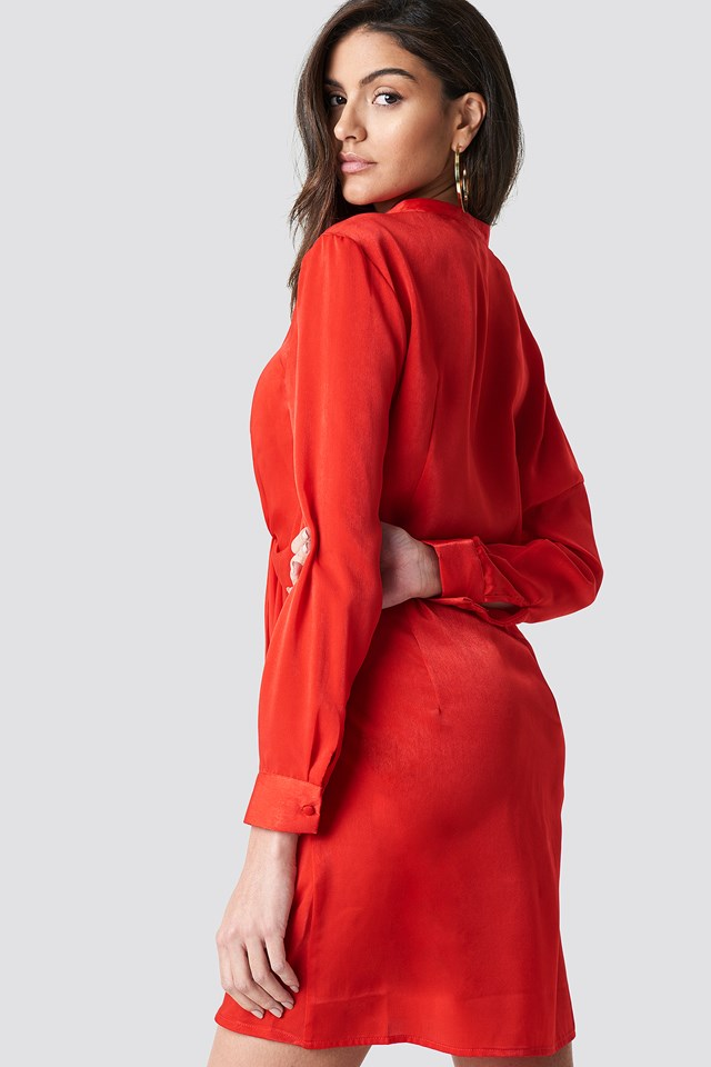 Draped Shirt Dress Red