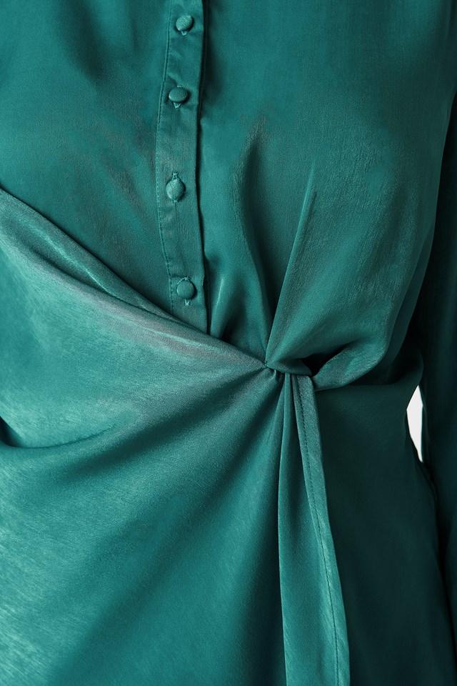 Draped Shirt Dress Petrol