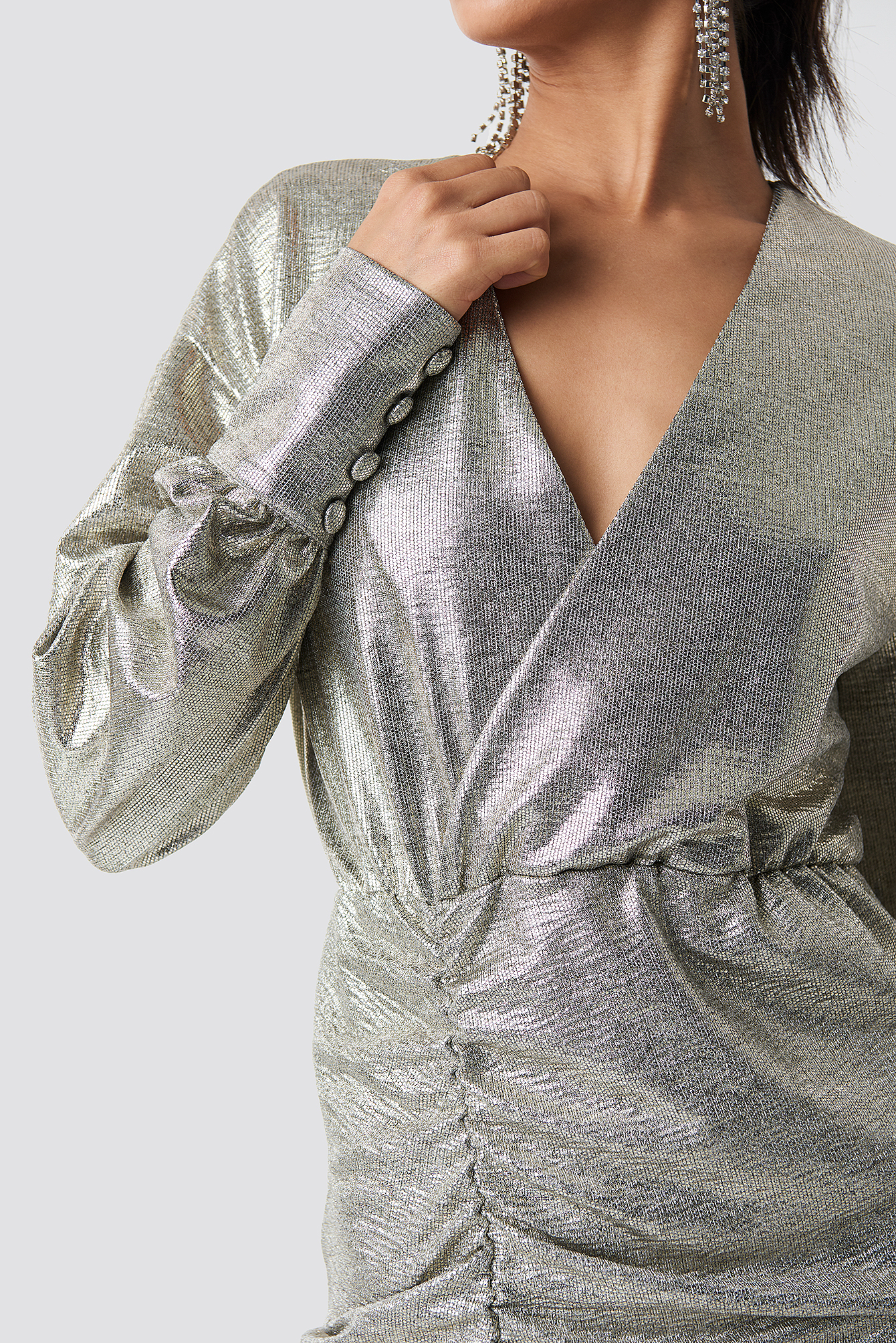 Draped Short Metallic Dress NA-KD.COM