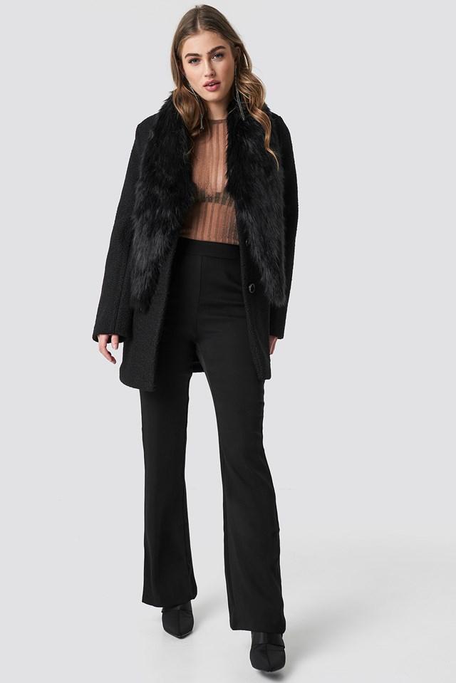 Faux Fur Collar Coat Hannalicious x NA-KD