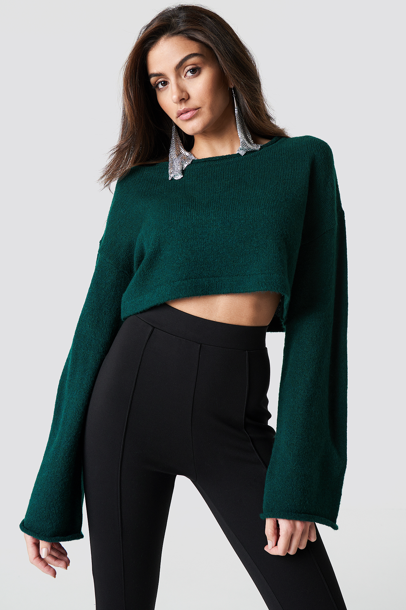 Flare Sleeve Crop Knit NA-KD.COM