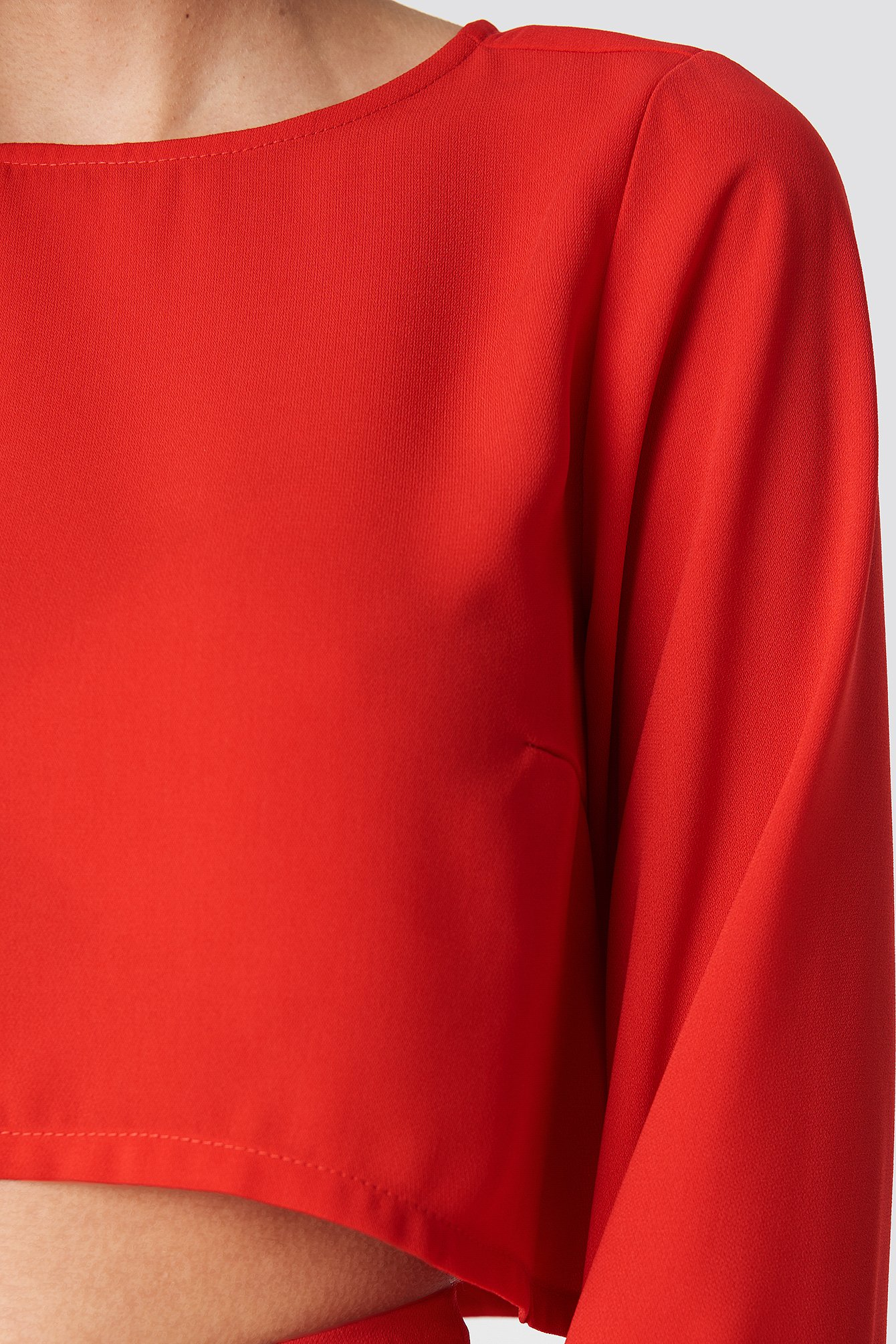 Flare Sleeve Crop Top NA-KD.COM