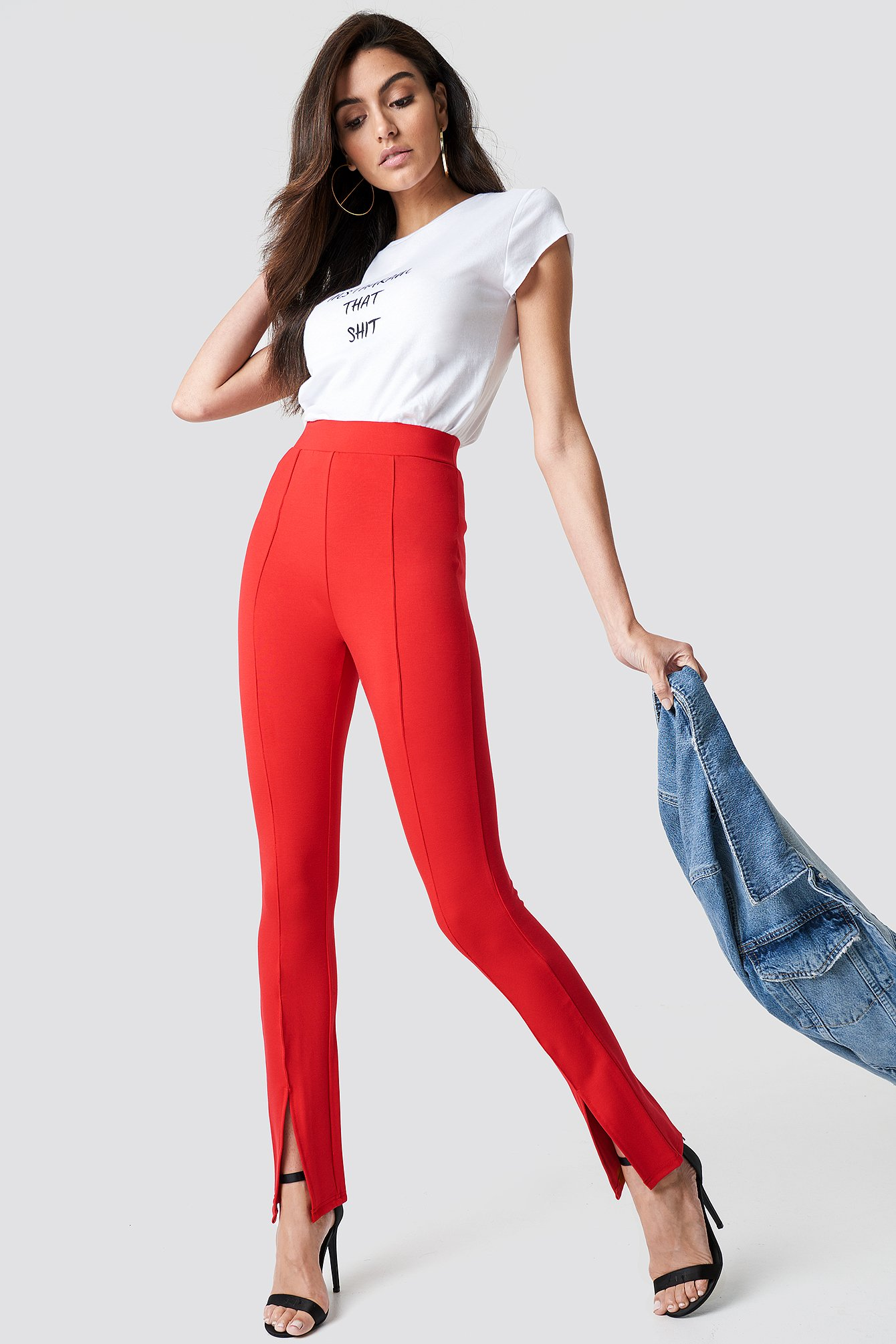 Red Front Slit Pants